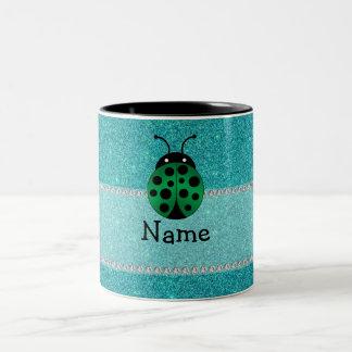 Personalized name ladybug turquoise glitter mug