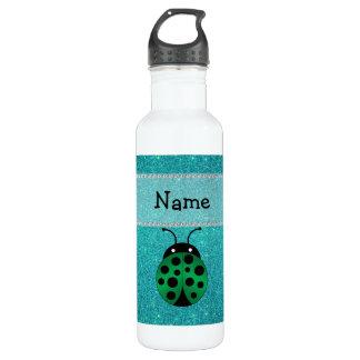 Personalized name ladybug turquoise glitter 24oz water bottle