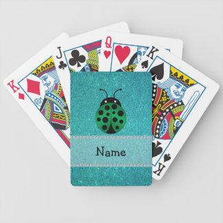 Personalized name ladybug turquoise glitter poker deck