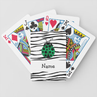 Personalized name ladybug zebra stripes card decks