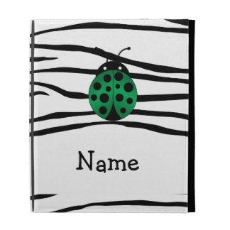 Personalized name ladybug zebra stripes iPad folio covers