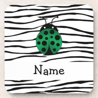 Personalized name ladybug zebra stripes coasters