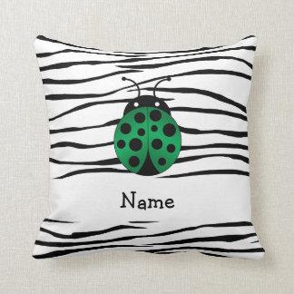 Personalized name ladybug zebra stripes throw pillows