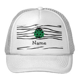 Personalized name ladybug zebra stripes mesh hat