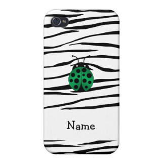 Personalized name ladybug zebra stripes cover for iPhone 4