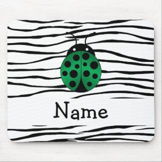 Personalized name ladybug zebra stripes mouse pads