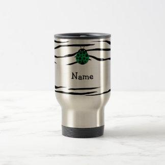 Personalized name ladybug zebra stripes coffee mug