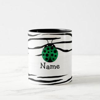 Personalized name ladybug zebra stripes mugs