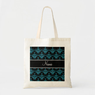 Personalized name light blue damask bags