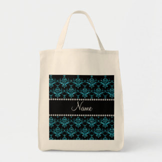 Personalized name light blue damask canvas bag