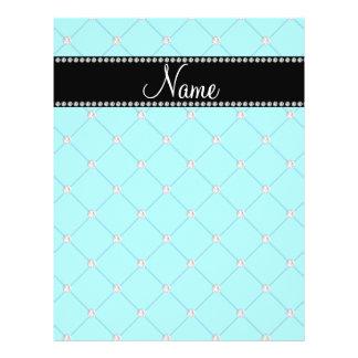 Personalized name Light blue diamonds Flyer Design