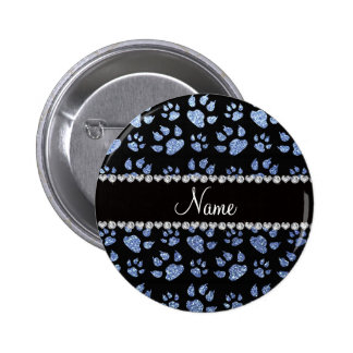 Personalized name light blue glitter cat paws 6 cm round badge