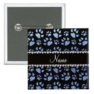 Personalized name light blue glitter cat paws 15 cm square badge