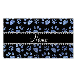 Personalized name light blue glitter cat paws business card templates