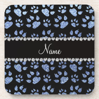 Personalized name light blue glitter cat paws drink coasters