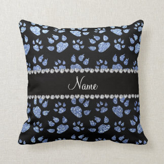 Personalized name light blue glitter cat paws throw pillow