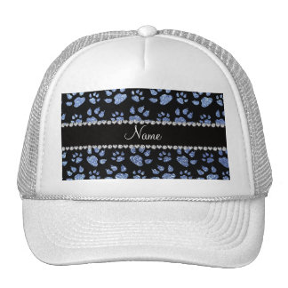 Personalized name light blue glitter cat paws mesh hat