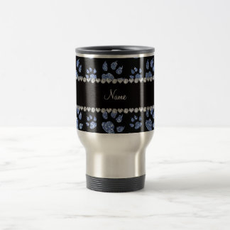 Personalized name light blue glitter cat paws mug