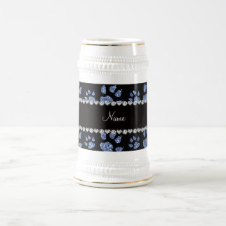 Personalized name light blue glitter cat paws coffee mug