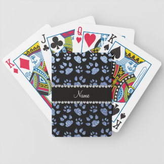 Personalized name light blue glitter cat paws bicycle poker cards