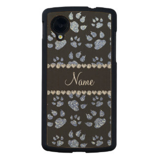 Personalized name light blue glitter cat paws carved® maple nexus 5 case