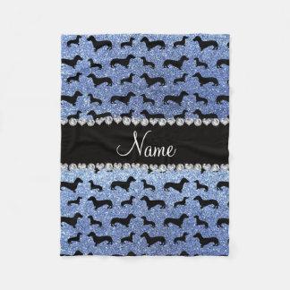 Personalized name light blue glitter dachshunds fleece blanket