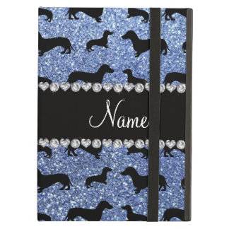 Personalized name light blue glitter dachshunds iPad air case