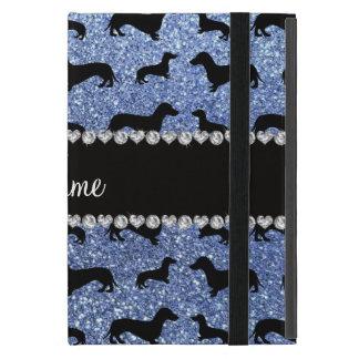 Personalized name light blue glitter dachshunds iPad mini cover