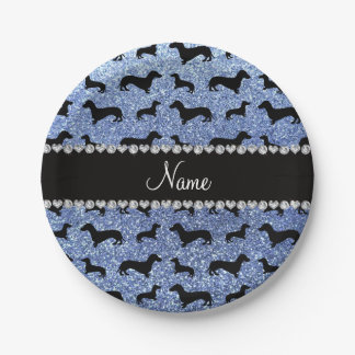 Personalized name light blue glitter dachshunds paper plate