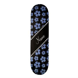 Personalized name light blue glitter flowers custom skate board