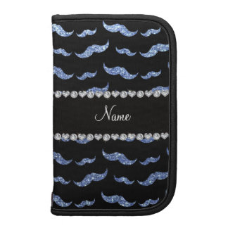 Personalized name light blue glitter mustaches organizers