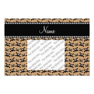 Personalized name light brown skulls pattern photograph