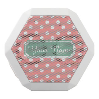 Personalized Name Light Coral Polka Dots Pattern White Boombot Rex Bluetooth Speaker