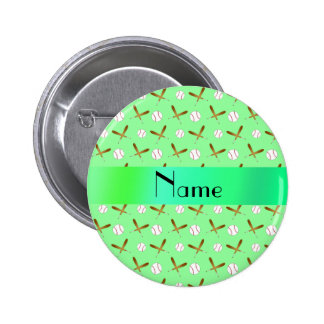Personalized name light green baseball 6 cm round badge