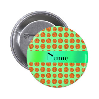 Personalized name light green basketballs 6 cm round badge