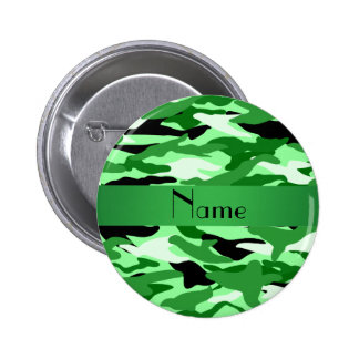 Personalized name light green camouflage pin