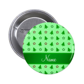 Personalized name light green christmas stars 6 cm round badge