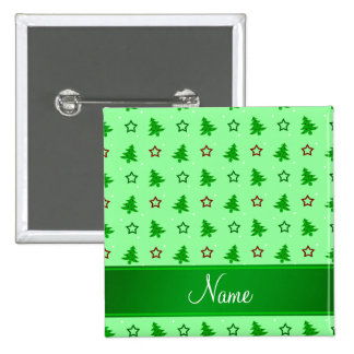 Personalized name light green christmas stars 15 cm square badge