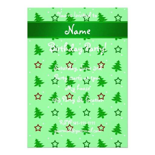 Personalized name light green christmas stars invitation