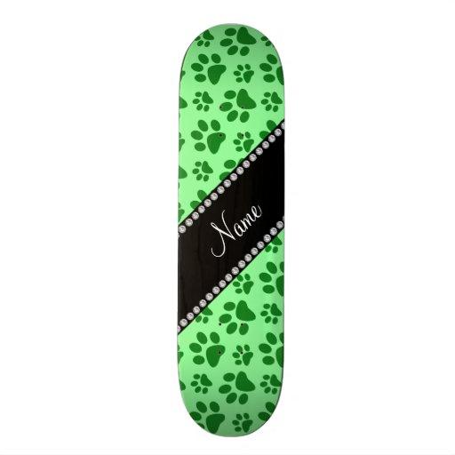 Personalized name light green dog paw prints custom skateboard