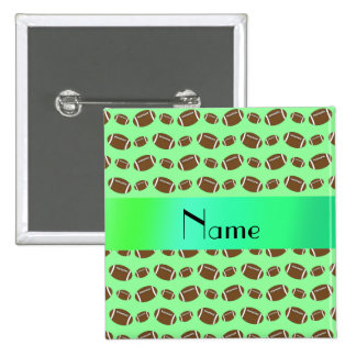 Personalized name light green footballs 15 cm square badge