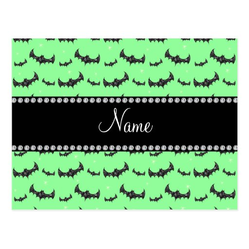 Personalized name light green glitter bats postcards