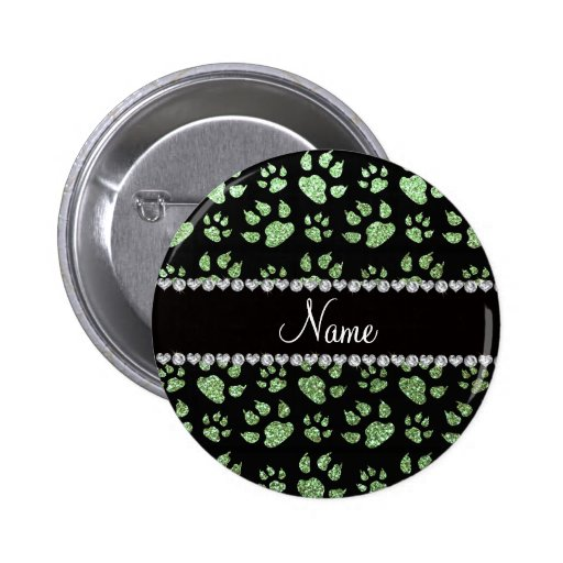 Personalized name light green glitter cat paws pinback buttons
