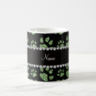 Personalized name light green glitter cat paws coffee mug