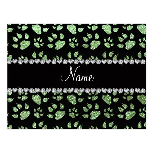 Personalized name light green glitter cat paws postcard