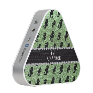 Personalized name light green glitter seahorses