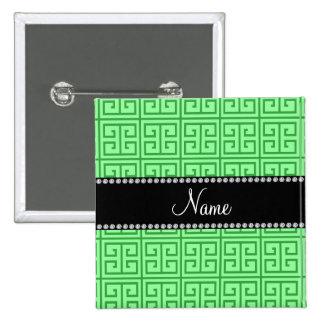 Personalized name light green greek key pattern 15 cm square badge