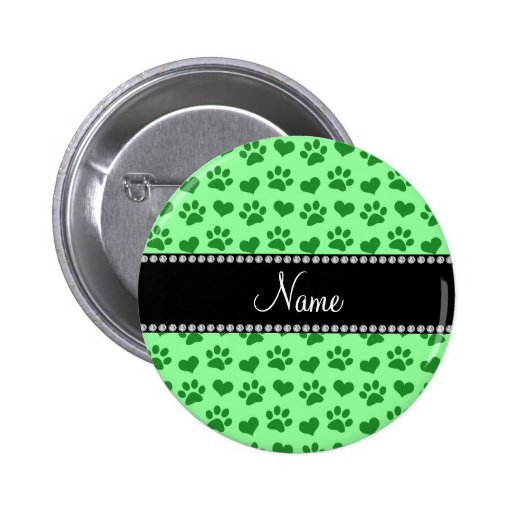 Personalized name light green hearts and paw print buttons