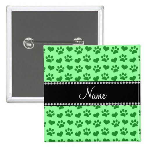 Personalized name light green hearts and paw print pinback button