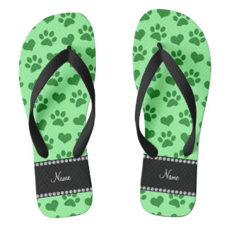 Personalized name light green hearts and paw print flip flops